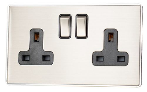 G&H LSS310 Screwless Brushed Steel 2 Gang Double 13A Switched Plug Socket